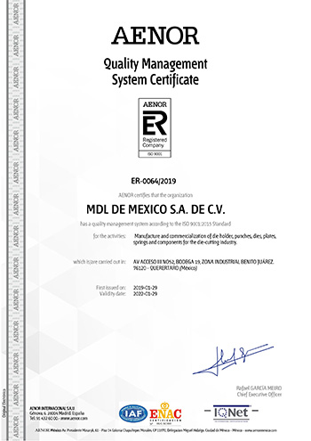 ISO9001:2015 Quality Certificate MDL Mexico