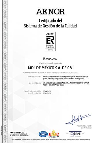 ISO9001:2015 certificado de calidad MDL Mexico