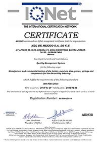 IQ NET certificado de calidad MDL Mexico
